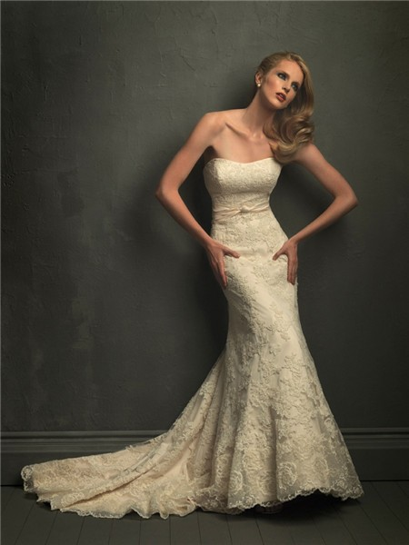 Clic Mermaid Strapless Champagne Lace Wedding Dress With Belt V Back