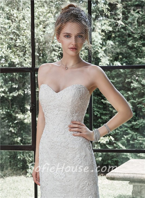 classic mermaid sweetheart lace wedding dress with