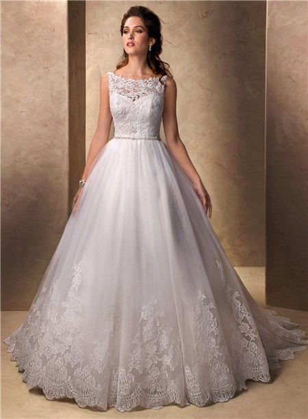 Clic Princess Ball Gown Bateau Neckline Tulle Lace With Ons