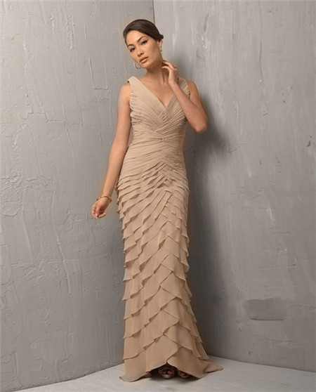 Sheath V Neck Long Light Brown Chiffon Tiered Evening Dress With ...