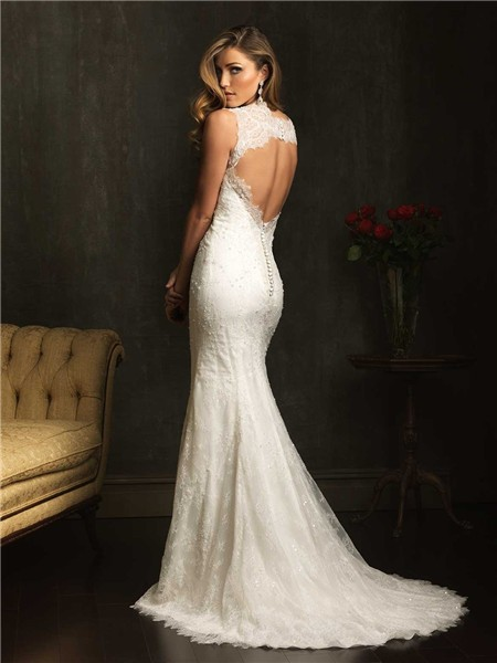 Classic slim mermaid v neck lace beaded wedding dress with for Fitted lace wedding dress with open back
