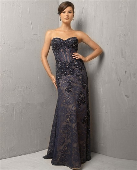 Classic Sweetheart Long Black Lace Beaded Corset Evening Wear Dress