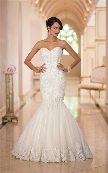 Classic trumpet mermaid sweetheart tulle lace beaded for Trumpet mermaid sweetheart wedding dress