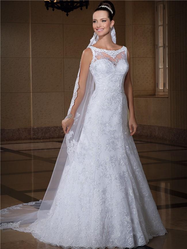 A Line Bateau Neckline Sleeveless Lace Glitter Wedding Dress With ...