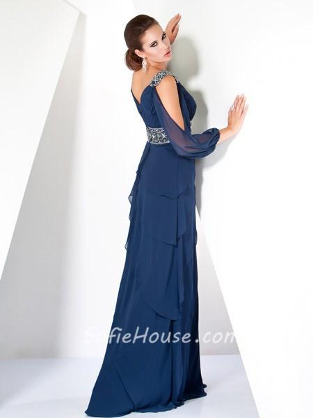 Classy A Line Off The Shoulder Long Navy Blue Women Evening Dress ...