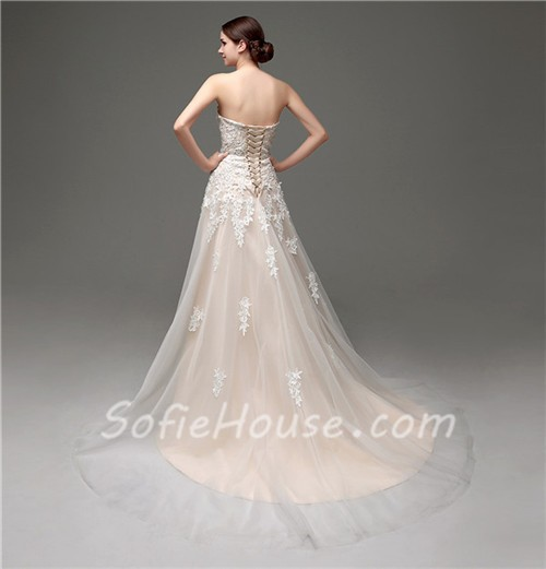 Classy a line strapless champagne satin ivory lace wedding for Ivory champagne wedding dress