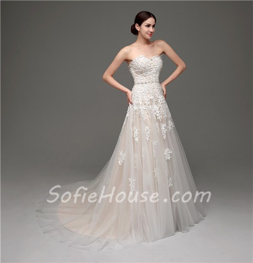 Classy a line strapless champagne satin ivory lace wedding for Wedding dress champagne lace