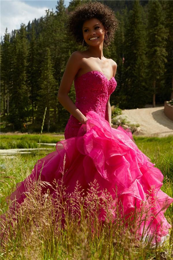 20f6608d7d8 ... Classy Mermaid Corset Back Hot Pink Organza Ruffle Lace Beaded Prom  Dress ...