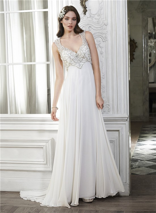 Sheath V Neck Open Back Chiffon Beaded Destination Wedding Dress
