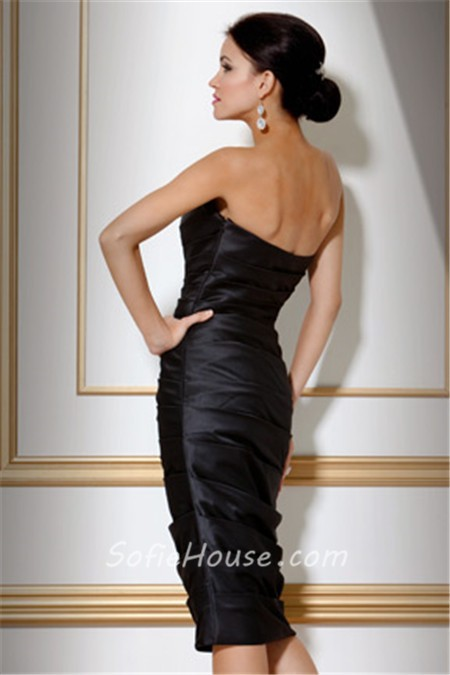 Classy Tight Strapless Short Black Tiered Satin Cocktail