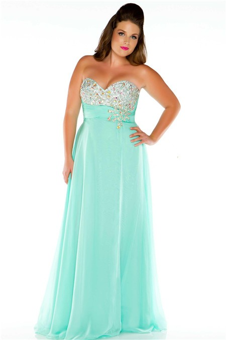 Cool A Line Strapless Long Mint Green Chiffon Beaded Plus Size Party