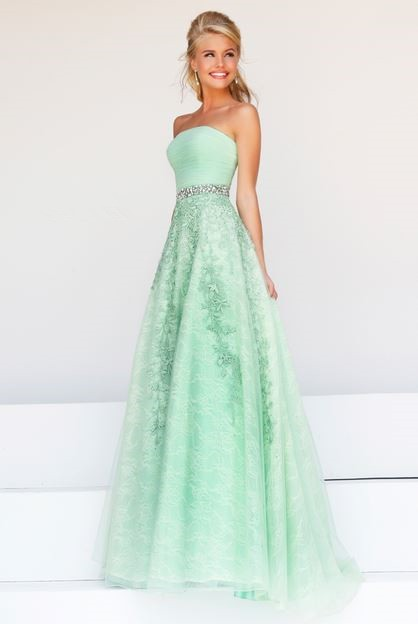 A Line Strapless Long Mint Green Tulle Lace Beaded Prom Dress