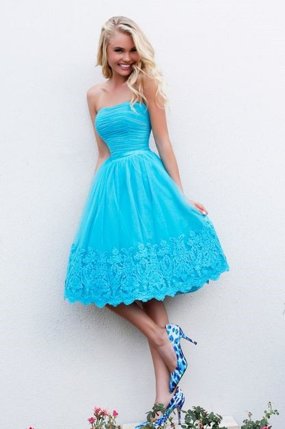 1d9dcbf10 Cute A Line Strapless Short Ruched Blue Tulle Lace Party Prom Dress