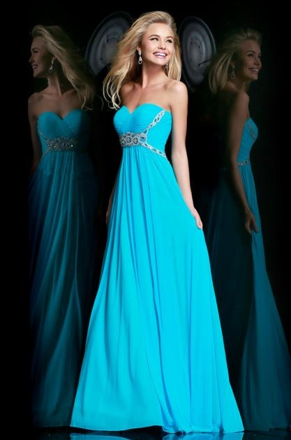 cute a line sweetheart long turquoise chiffon beaded