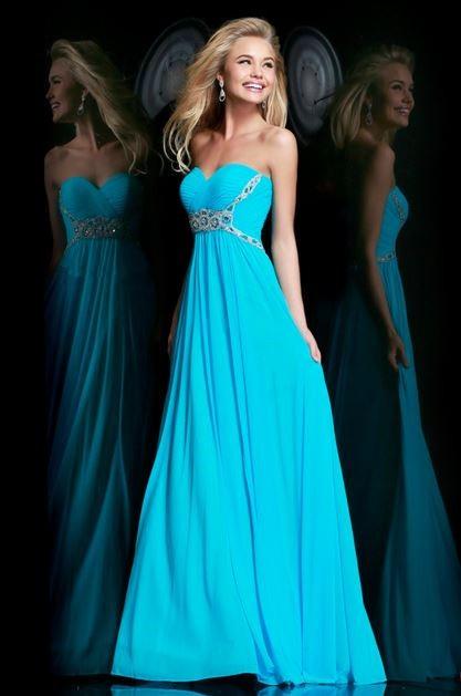 Cute A Line Sweetheart Long Turquoise Chiffon Beaded