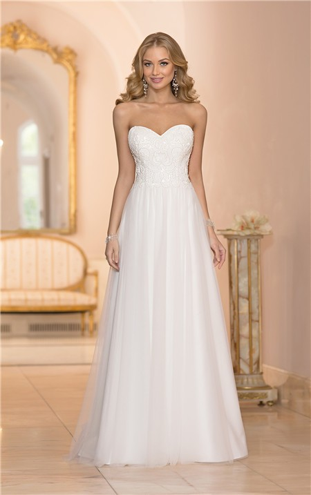 Cute a line sweetheart neckline lace tulle wedding dress for Lace a line wedding dress with sweetheart neckline