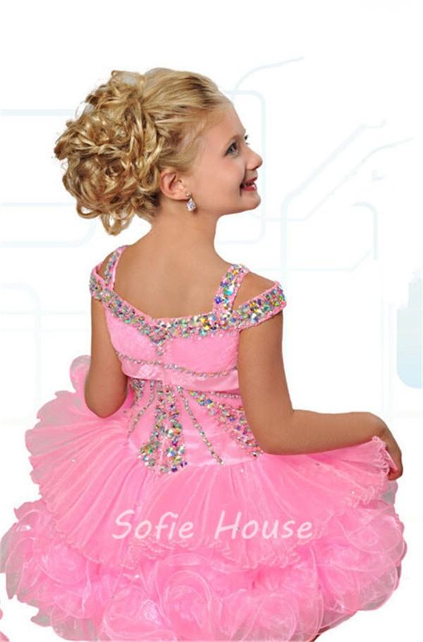 Cute Ball Short Pink Organza Layered Tutu Girl Pageant Prom Dress ...