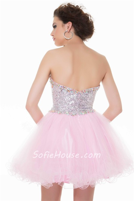 50de3798a28 Cute Ball Strapless Short Pink Tulle Sequined Cocktail Party Prom Dress
