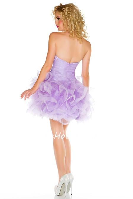 Short puffy purple prom dresses