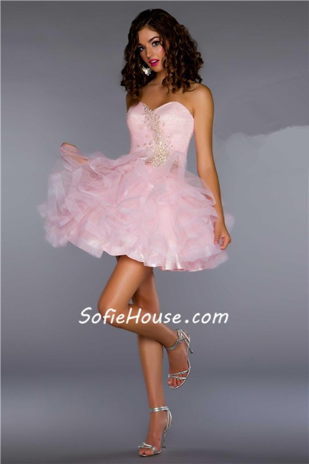 Cute Ball Sweetheart Short Mini Lilac Purple Tulle Puffy Cocktail Prom Dress