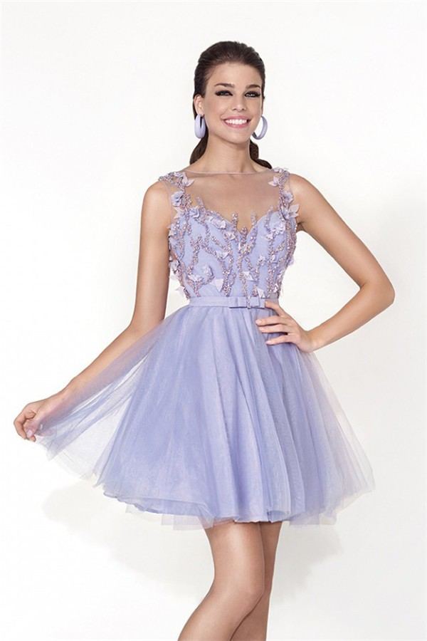 Cute Illusion Neckline Short Lavender Tulle Beaded Prom
