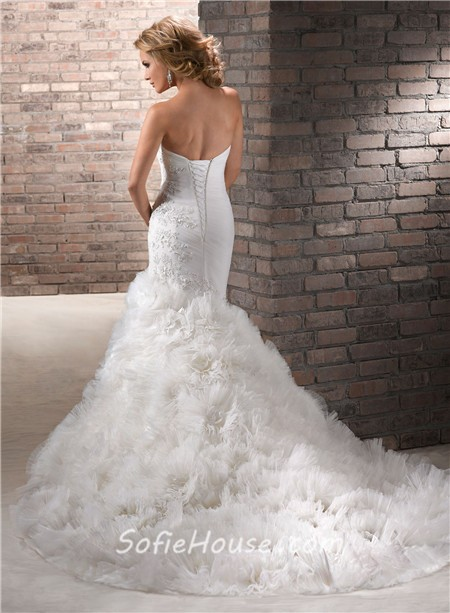 Mermaid Wedding Gown with Floral Straps