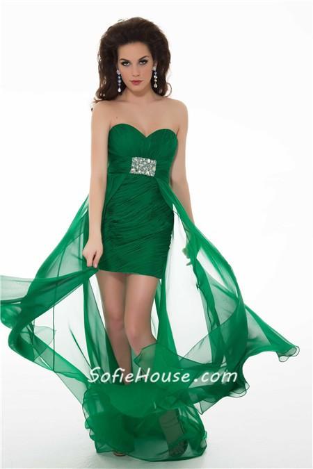 Cute Sheath Strapless Long Purple Chiffon Homecoming Prom Dress With ...