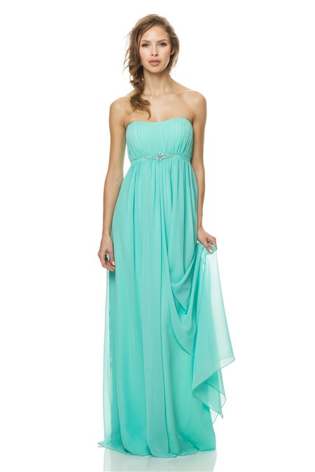 Cute Strapless Empire Waist Long Aqua Chiffon Occasion