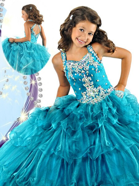 cute tiered teal blue organza ruffle beaded little girls