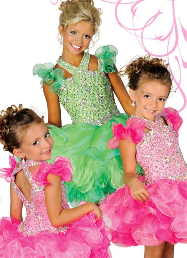 Cute Tutu Short Green Organza Ruffle Beaded Girl Pageant