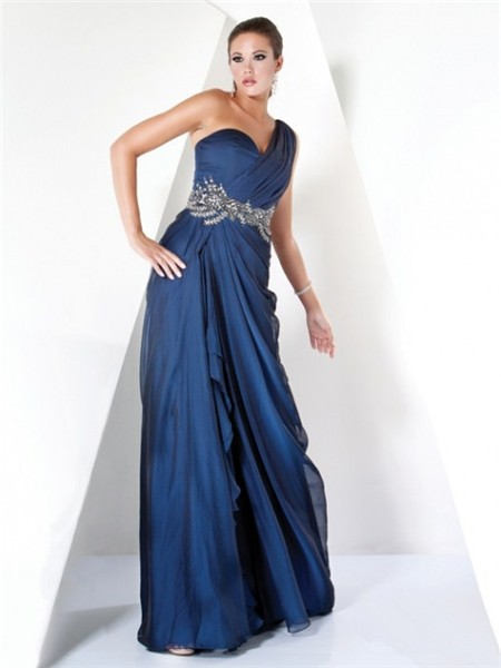 Designer A Line One Shoulder Long Navy Blue Chiffon ...
