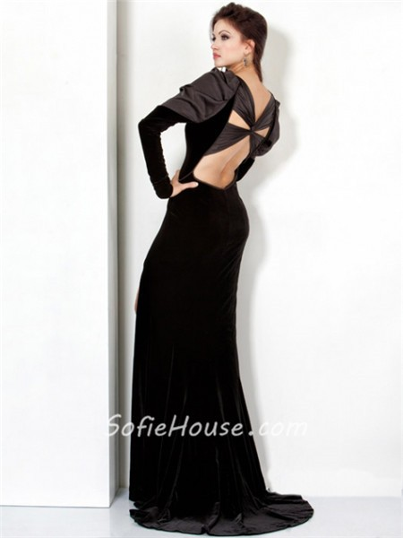 cbfe3d4a92e21 Designer Backless Long Black Velvet Winter Evening Wear Dress With Long  Sleeve
