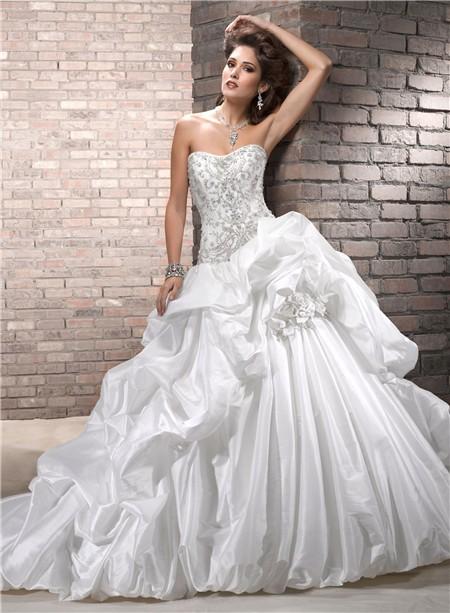 Designer ball gown strapless embroidery beaded taffeta for Beaded wedding dress designers