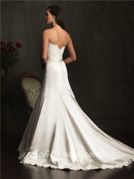Designer Mermaid Strapless Lace Satin Wedding Dress With