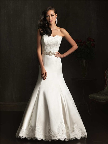 Designer mermaid strapless lace satin wedding dress with for Satin belt for wedding dress