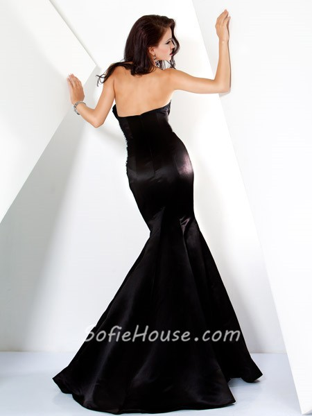 Designer Mermaid Strapless Long Black Satin Beaded Evening