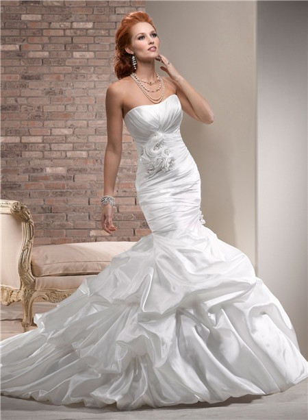 Designer mermaid strapless ruched taffeta wedding dress for Strapless taffeta wedding dress