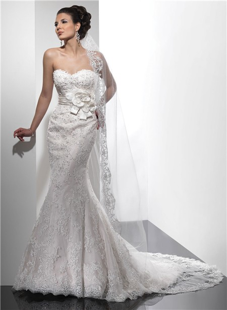 designer mermaid sweetheart beaded lace wedding dress with flowers