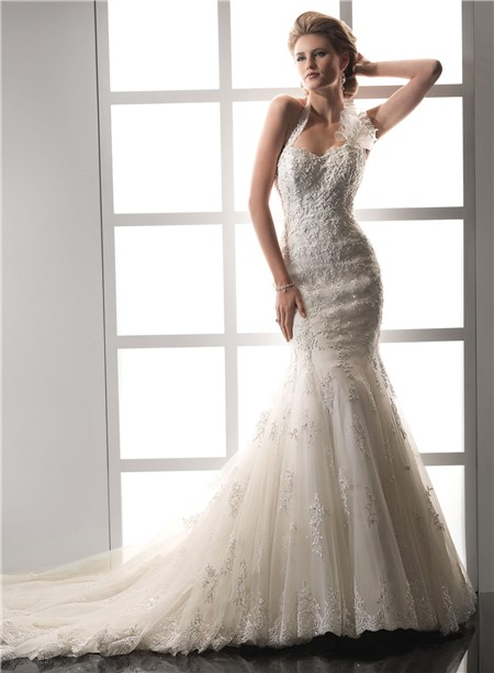 Designer mermaid sweetheart halter beaded lace wedding for Halter mermaid wedding dress