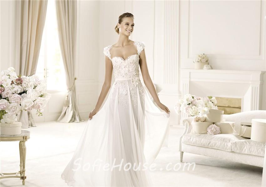 Designer sheath cap sleeve open back chiffon beaded lace for Cap sleeve open back wedding dress