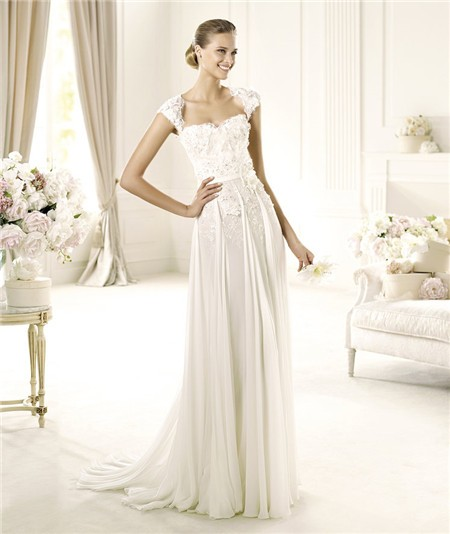 Designer sheath cap sleeve open back chiffon beaded lace for Beaded wedding dress designers