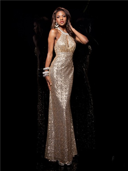 Sheath Halter Long Champagne Gold Sequined Prom Dress Open Back Straps