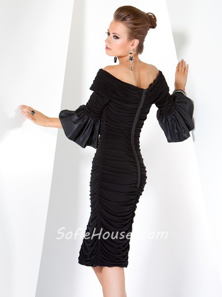 Black designer dresses with sleeves