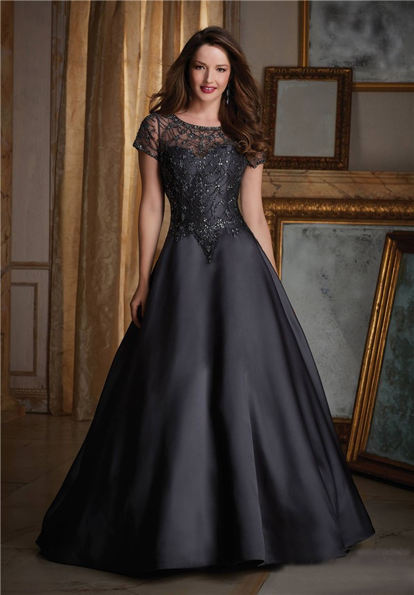 707cd4076cece Elegant A Line Black Satin Tulle Beaded Formal Occasion Evening Dress With Short  Sleeves