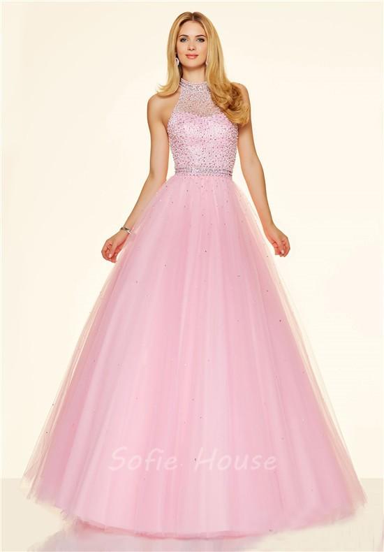 Pink High Neck Prom Dress