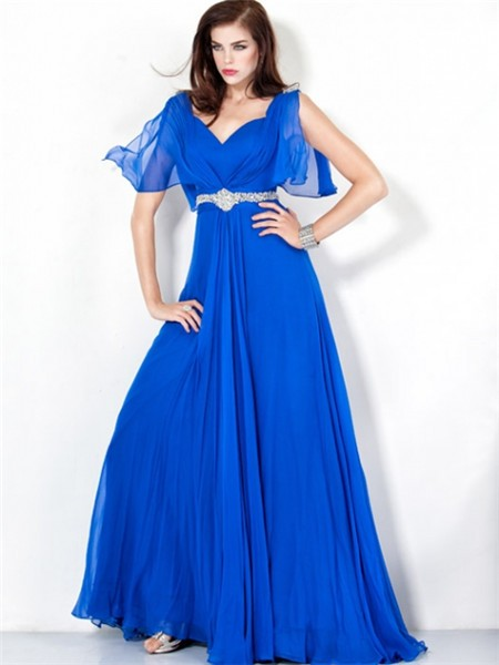 A Line Long Royal Blue Chiffon Evening Wear Dress Open Back