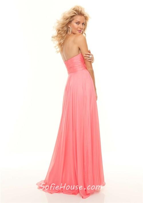 Elegant A-Line/Princess Sweetheart long coral chiffon prom dress ...
