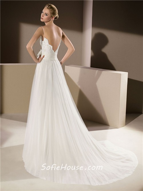 Elegant a line scalloped neckline low v back lace tulle for V back wedding dress
