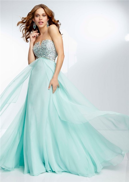 Elegant A Line Strapless Empire Waist Long Mint Green