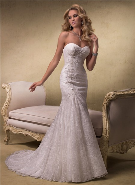 Elegant a line strapless sweetheart lace wedding dress for A line corset wedding dress